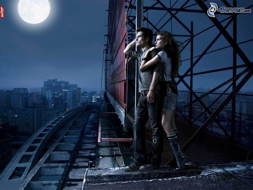 couple, skyscraper, city, moon, Levi's