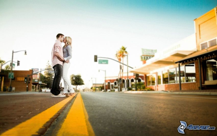 couple in town, kiss, road, street