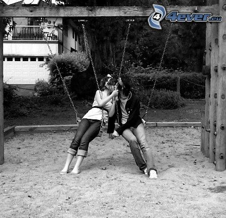 couple on seesaw, love, kiss