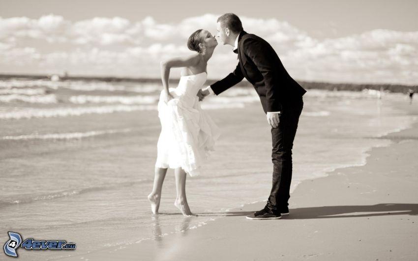couple on the beach, sea