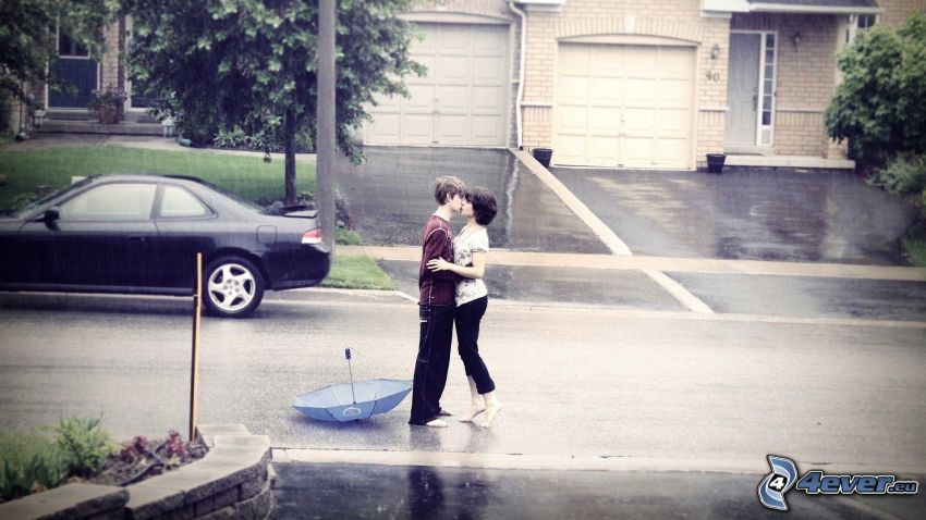 couple with umbrella, kiss in the rain, street
