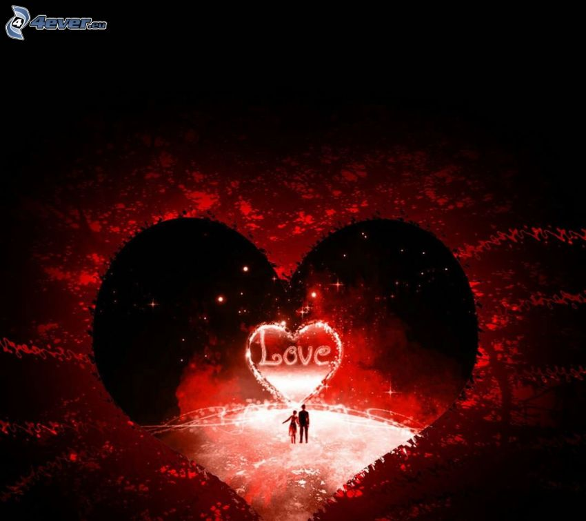 hearts, love, silhouette of couple