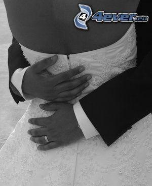 hug, bride, groom