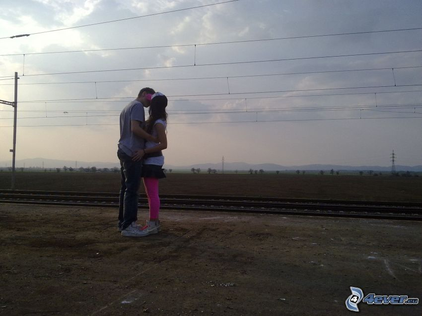 kiss, couple, hug, rails, railway, field