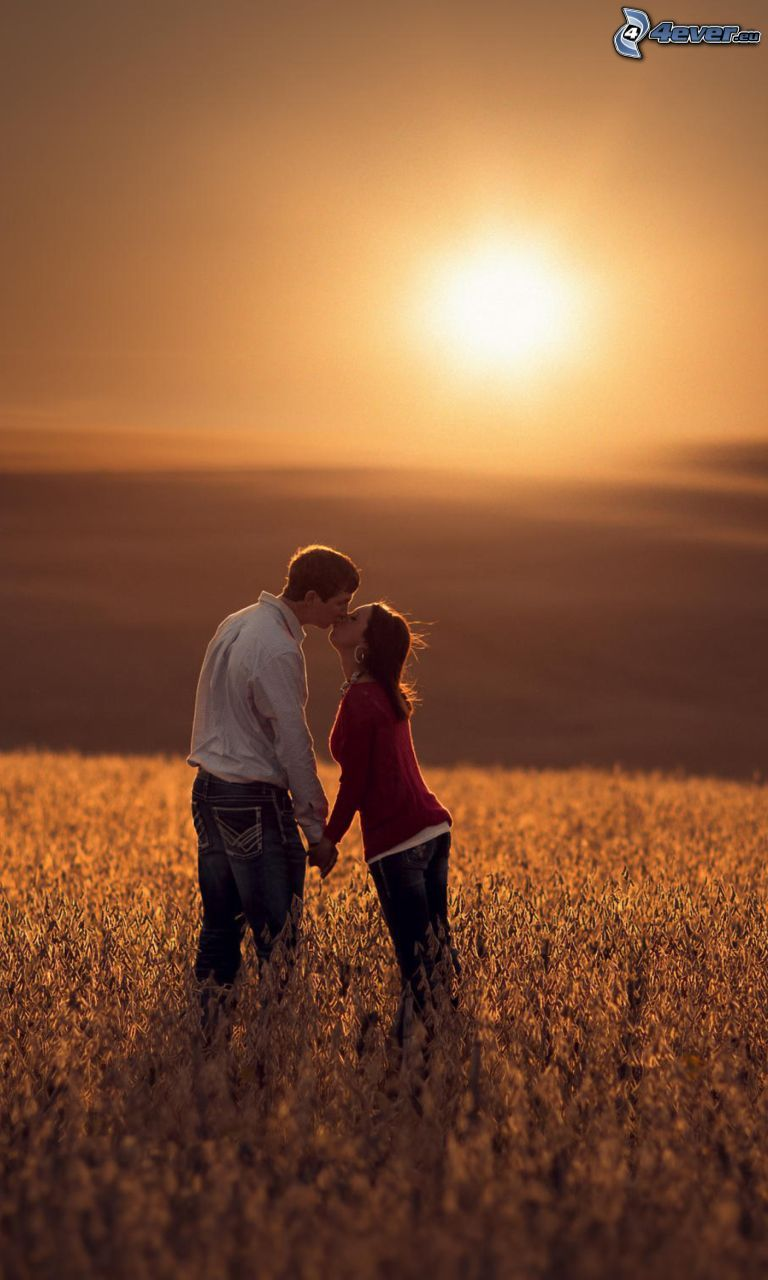 kiss in field, sunset