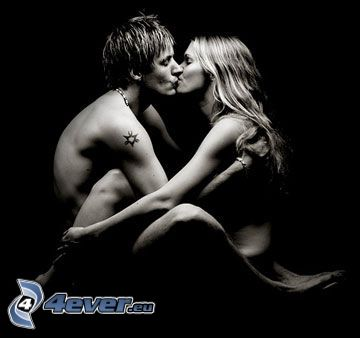 man and woman, couple, kiss, tattoo on the hand