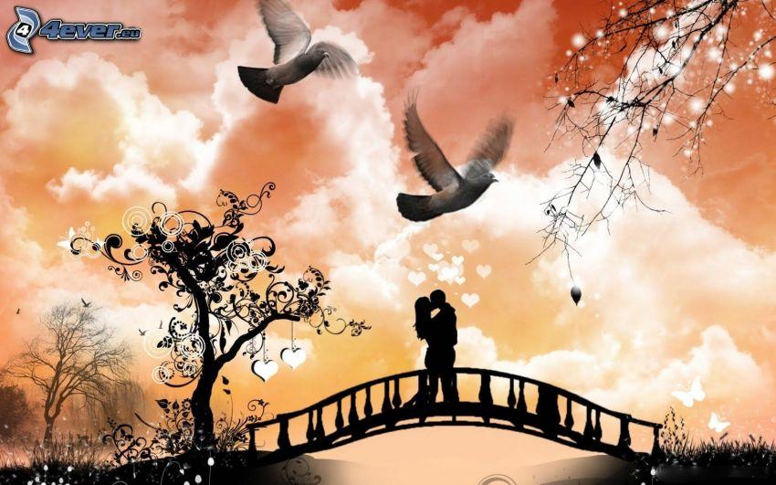 silhouette of couple, doves, pedestrian bridge, cartoon tree, digital art