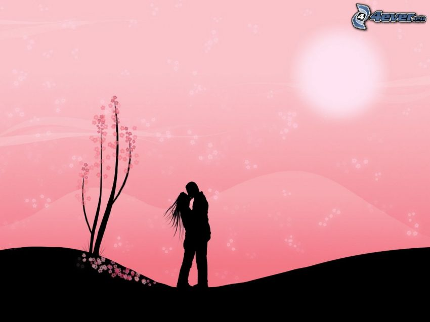 silhouette of couple, kiss, digital art