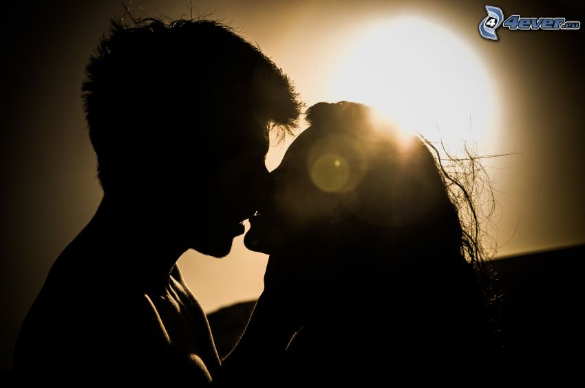 silhouette of couple, mouth, sun