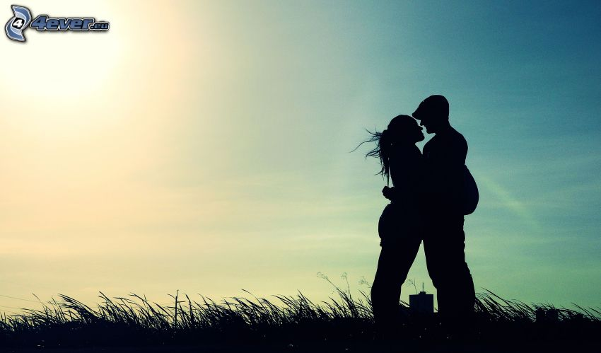 silhouette of couple, mouth