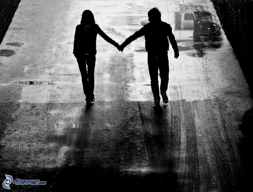 silhouette of couple, road, night
