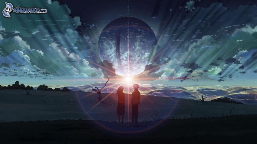 silhouette of couple, sun, glow, planet Earth