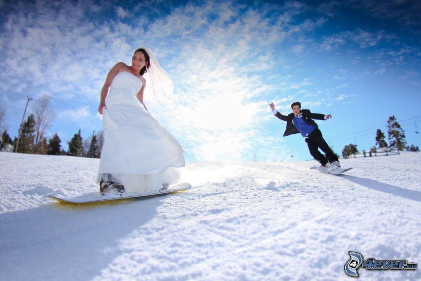wedding couple, snowboarding