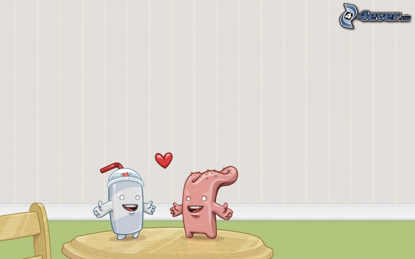 cup, tongue, cartoon couple, heart