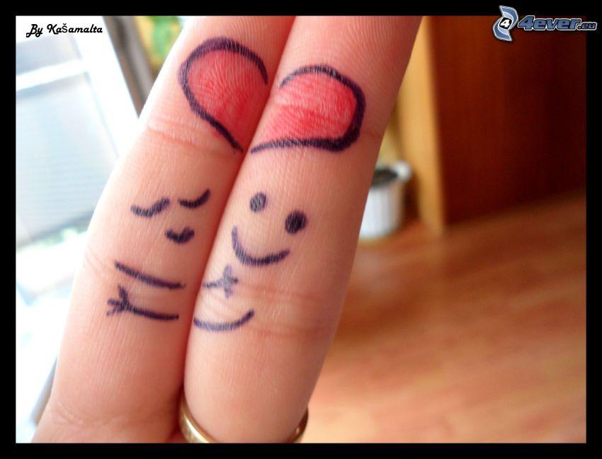 fingers in love, heart