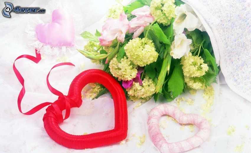 hearts, bouquets