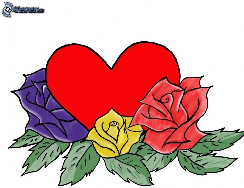 cartoon heart, roses