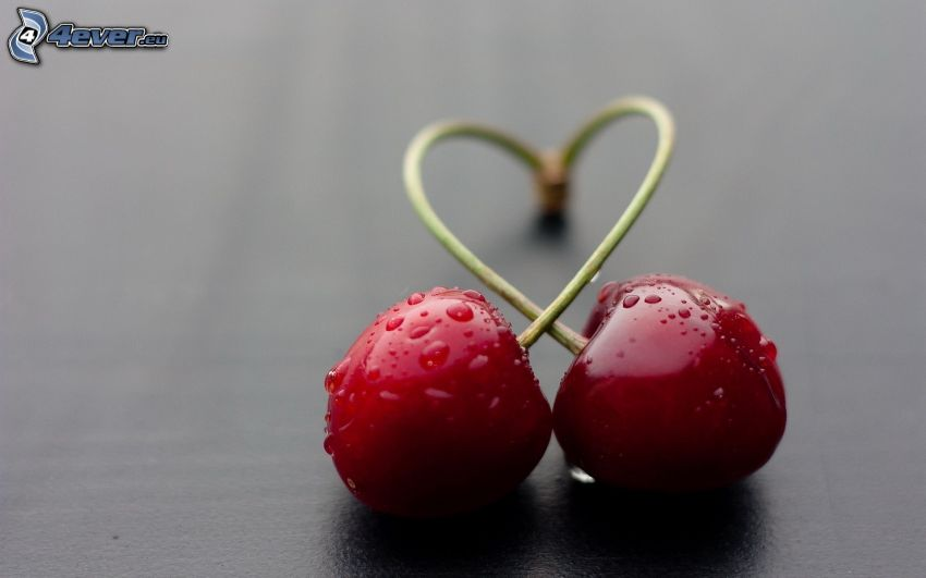 cherries, heart
