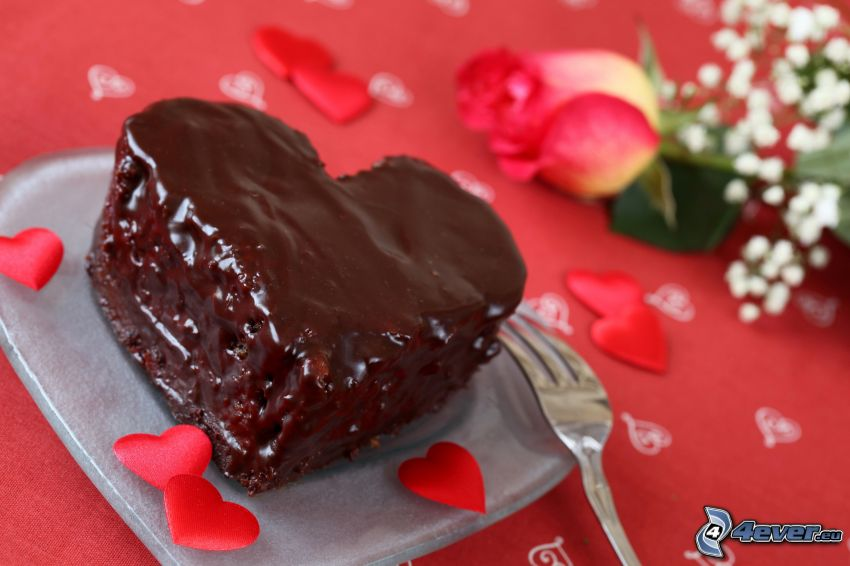 chocolate heart, pie, rose petals, rose