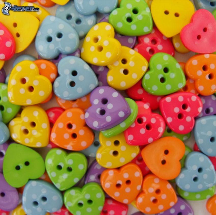 colorful hearts, buttons