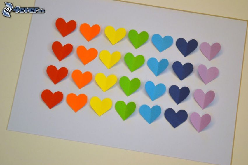 colorful hearts, piece of paper