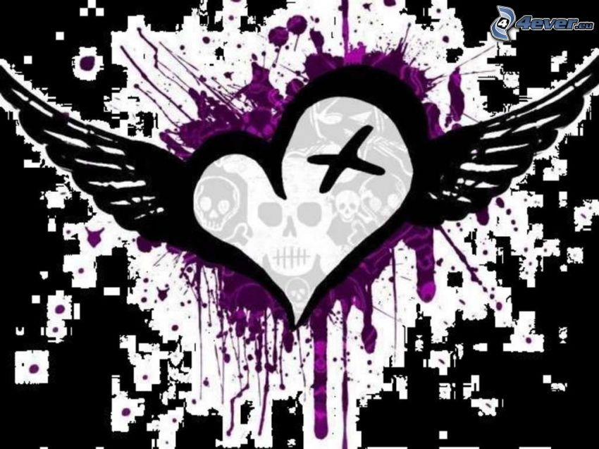 emo heart, heart with wings, skull