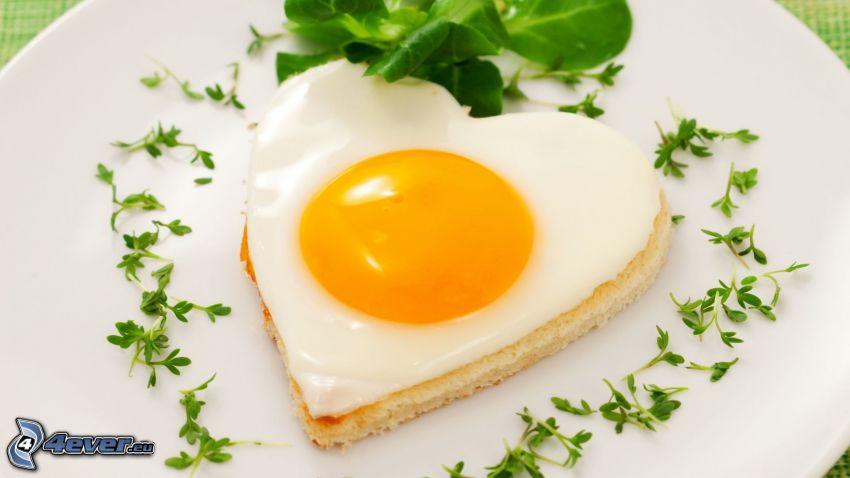fried egg, heart