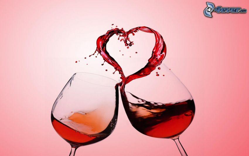 glasses, wine, splash, heart