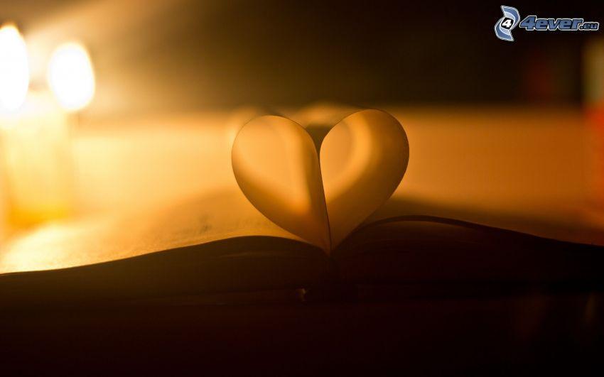 heart, book, paper