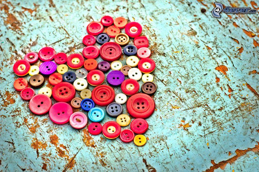 heart, buttons