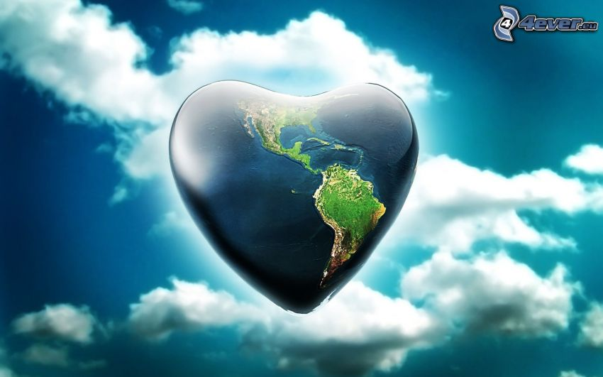 heart, Earth, clouds, digital art