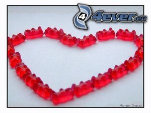 heart, gummy bears, candy