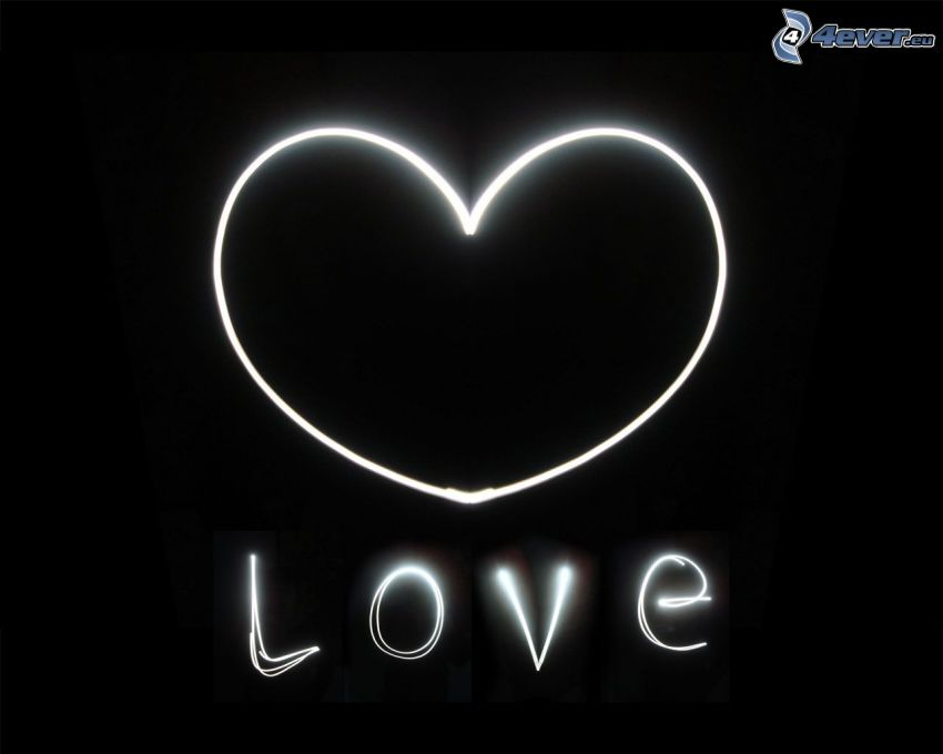 heart, love, lightpainting, black and white