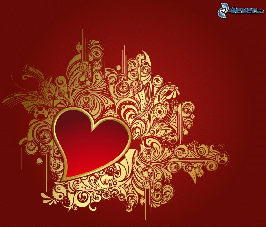heart, red background, shapes