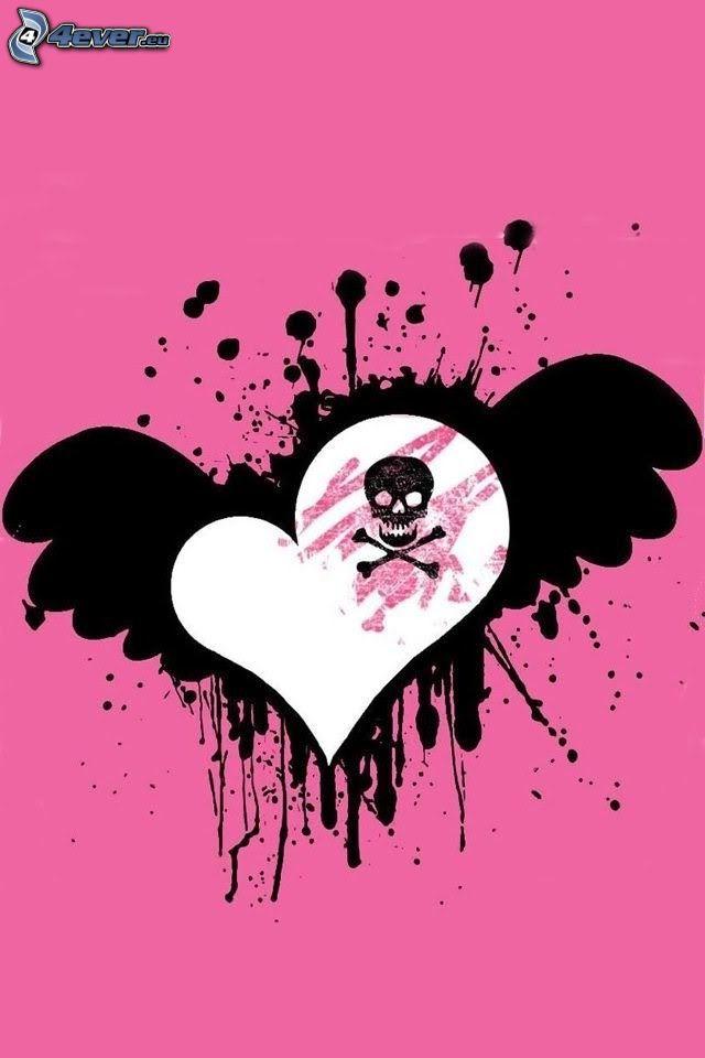 heart, skull, blot