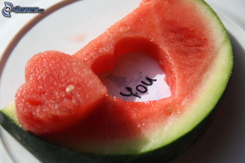 heart, watermelon