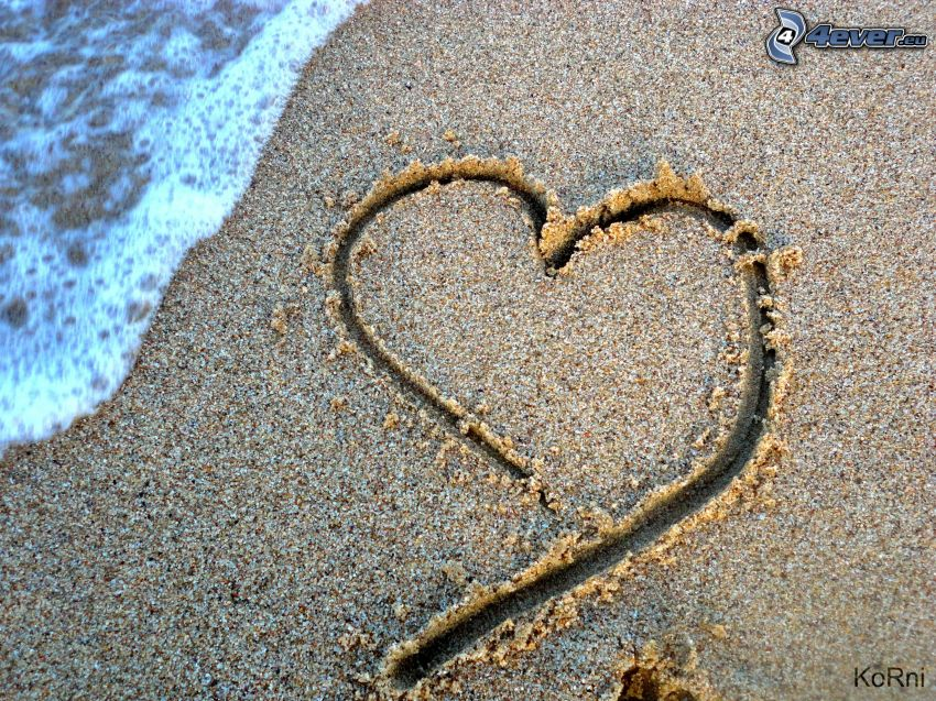 heart in the sand, beach, water