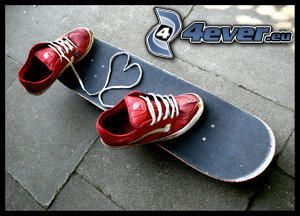 heart of laces, skateboard, red sneakers