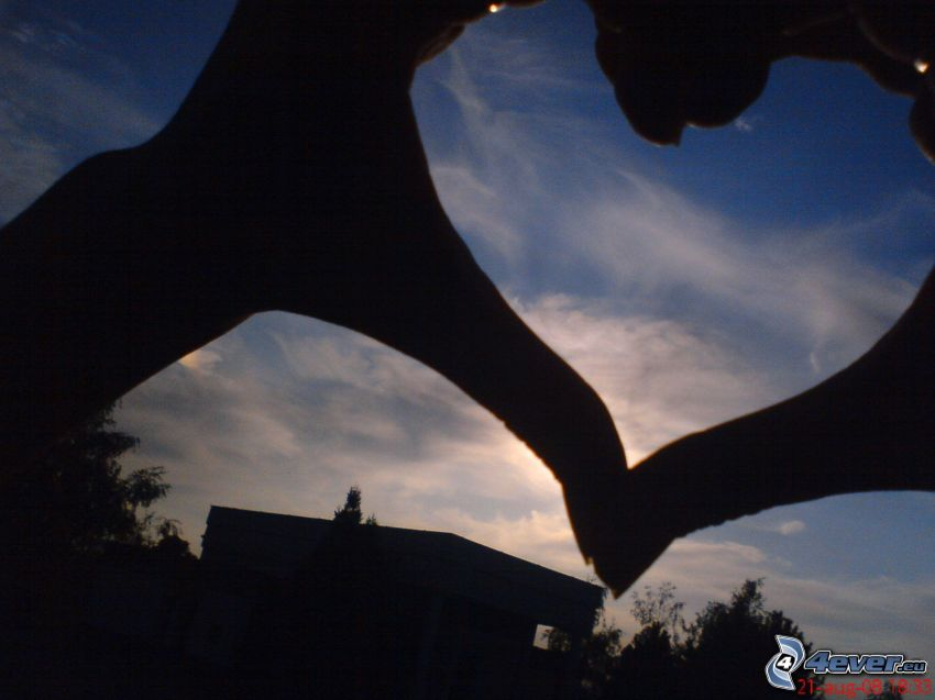 heart of the hands, sky, sunset, silhouette