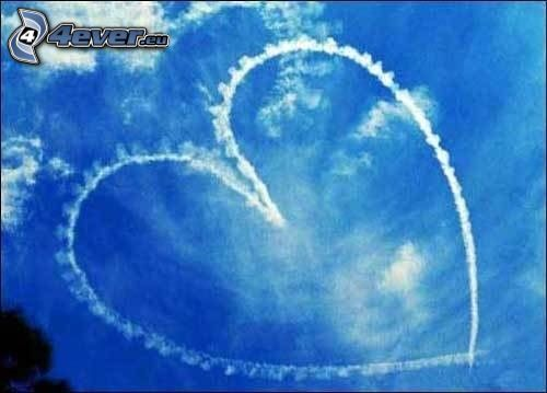 heart on the sky, contrail, clouds