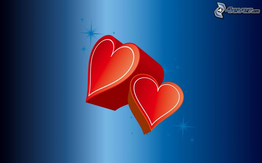 hearts, blue background