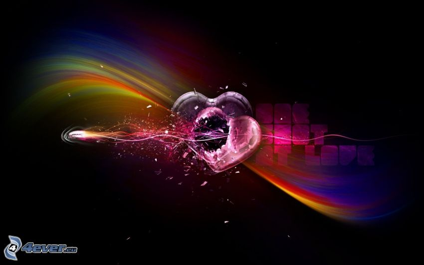 hearts, bullet, digital art