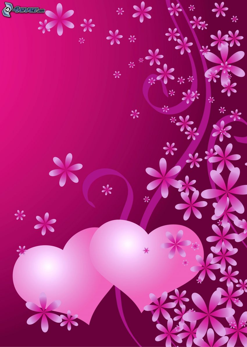 hearts, flowers, pink background