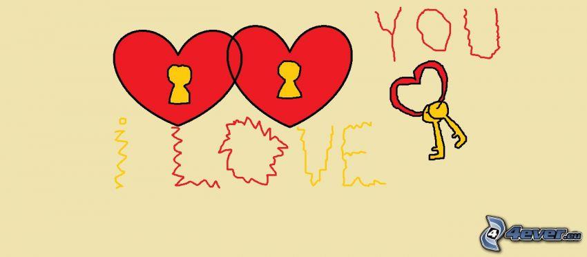 hearts, keys, lock, I love you