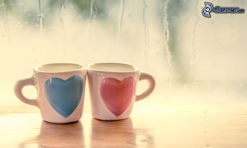 hearts, mugs, dewy glass, rain
