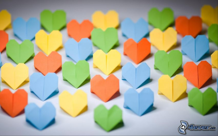 hearts, origami, colored papers