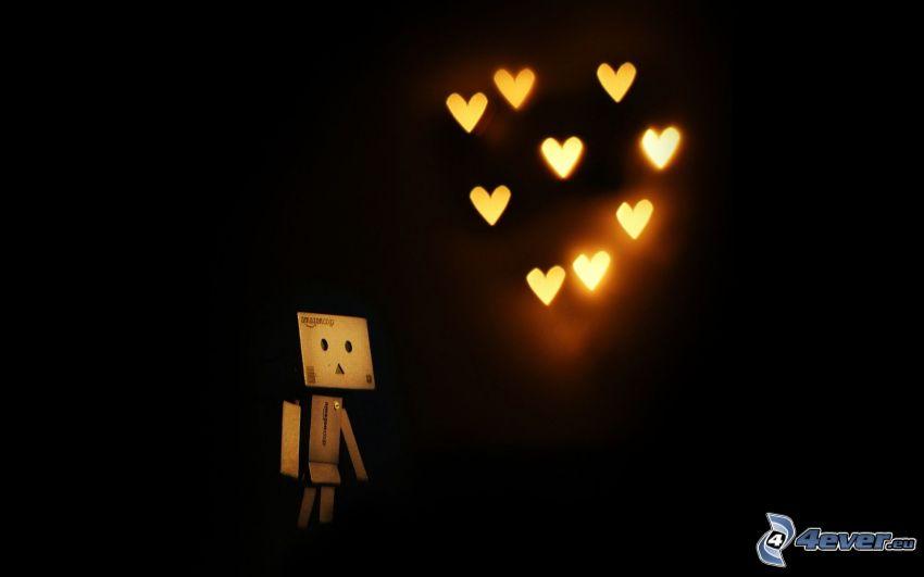 hearts, paper robot