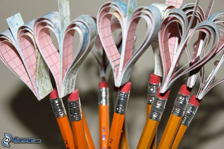 hearts, pencils