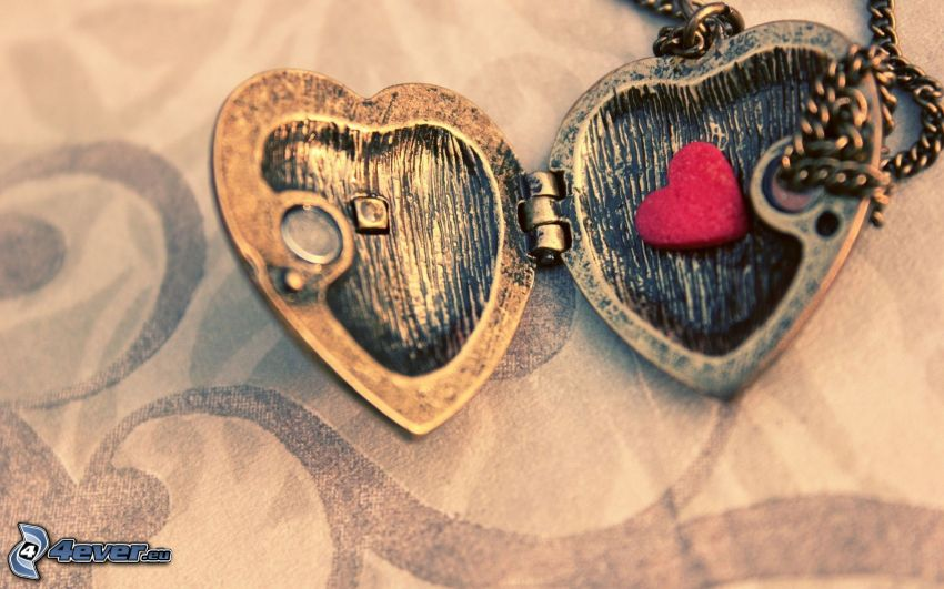 hearts, pendant with heart