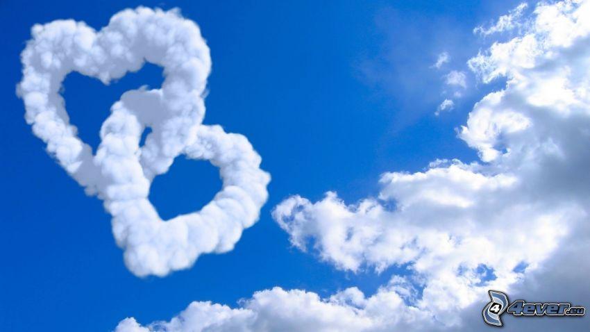 hearts in sky, clouds